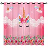 Unicorn Curtains,Rainbow Flower Unicorn 3D Pattern Grommet Blackout Curtains 2 Panels Set for Boys Girls Kids Room Thermal Blackout Curtains Powder Red W27.5 xL39