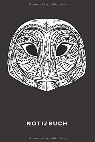 Notizbuch: Notizbuch | Notizheft | Schreibbuch |  110 Seiten | Karo | Kariert | Karos | DIN A5 | Eule | Eulen | Nachtaktiv | Zoo | Tier | Schleiereule | Uhu | Tribal | Grafik Motiv