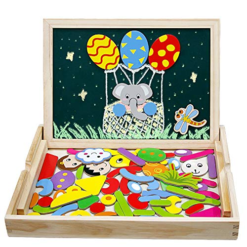 Tablero Magnético de Dibujo de Madera de Doble Cara Tablero Magnético Puzzle Juegos de Rompecabezas Magnéticos de Madera Juguetes Educativos Regalos Cumpleaños Navidad para Niños 3 4 5 6