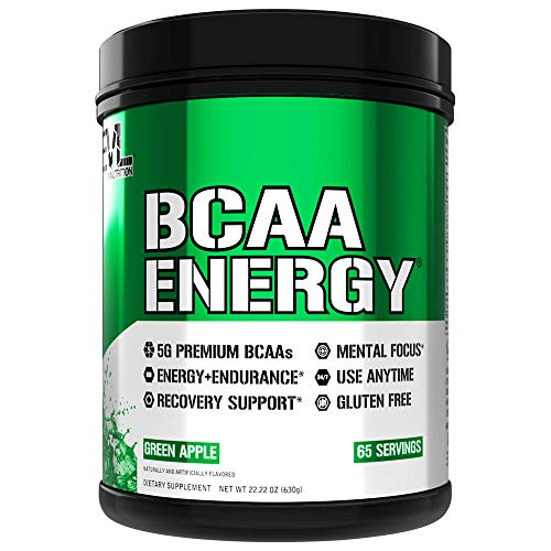 Evlution Nutrition BCAA Energy– Essential BCAA Amino Acids, Vitamin C, and Natural Energizers for Performance, Immune Support, Muscle Building, Recovery, B Vitamins, Pre Workout, 65 Serve, Green Apple