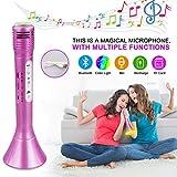 Microphone Bluetooth Sans Fil, Portable Karaoké Microphone Haut-parleur Player, Karaoke à la maison musique chanson Enfants/Adultes Sur PC ordinateur portable iPhone SamSung Android (Rose)