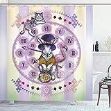 N\A Tier Duschvorhang, Alice im W&erland Kaninchen & Cat Fiction Story Neuartige Kinder-Bildschirm-Geschichte, Stoff Stoff Badezimmer Dekor Set mit Haken, Fliedergelb
