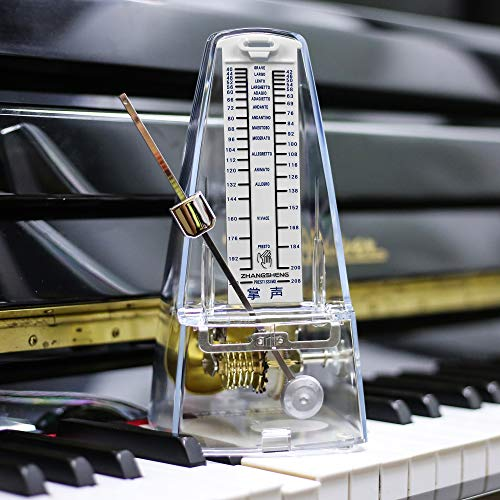 ZhangSheng T710 Mechanical Metronome for Loud Sound Piano Drum Violin Guitar Bass, Track Tempo and Beat (Transparent)