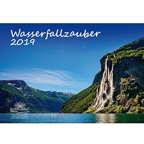 Wasserfallzauber · DIN A3 · Premium Kalender 2019 · Wasserfall · Wasser · Urlaub · wandern · Fluss · Wildnis · Natur · Geschenk-Set mit 1 Grußkarte und 1 Weihnachtskarte · Edition Seelenzauber