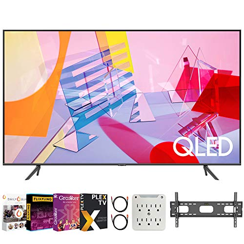 """SAMSUNG QN43Q60TA 43"""" Class Q60T QLED 4K UHD HDR Smart TV (2020) Bundle with Premiere Movies Streaming 2020 + 30-70 Inch TV Wall Mount + 6-Outlet Surge Adapter + 2X 6FT 4K HDMI 2.0 Cable"""