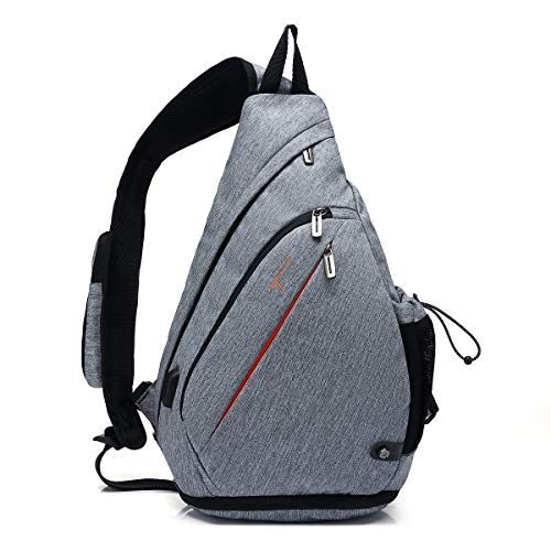 TUDEQU Crossbody Backpack Sling Chest Bag Backpack Casual Daypack with Dry Wet Separation and USB port for Men & Women (GRAY MATCH BLACK)