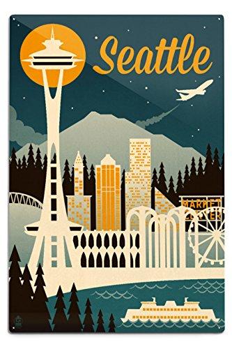 Lantern Press Seattle, Washington, Retro Skyline (12x18 Aluminum Wall Sign, Wall Decor Ready to Hang)