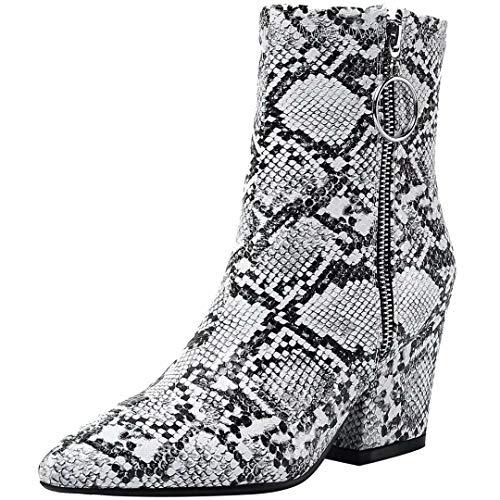 JYshoes High Heels Blockabsatz Stiefeletten mit Reißverschluss und Schlangenmuster Damen Schuhe...
