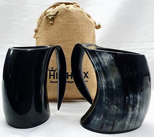 HIGHBIX Großer Wikinger Trinkhorn Becher Set von 2 echten handgefertigten Wikinger Horn Becher für Met, Ale und Bier - Original Mittelalter 20 oz Becher mit klassischem Jutebeutel
