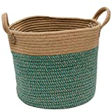 Douup Cotton Hemp Rope Basket Storage with Handles, Woven Laundry Basket, Natural Cotton Woven Storage Basket for Diapers, Nursery, Toys, Towels (13.7Inchx 11.8Inch),Green