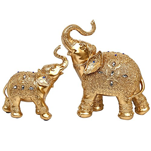 BOYULL Large Size Feng Shui Mother and Baby Elephant...