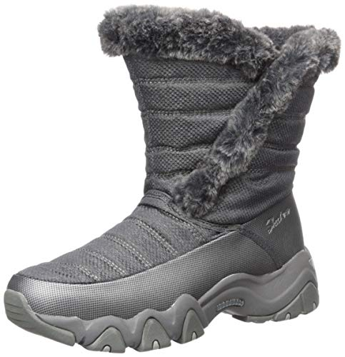 Skechers Women's D'Lites 2.0-Mid Quilted Sneaker Boot with Fur Trim Snow, Charcoal, 9 M US