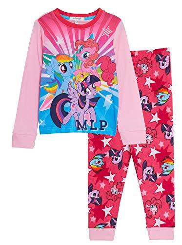 My Little Pony Mädchen-Schlafanzug Rainbow Dash 2-teilig Glitzer lange Pjs Nachtwäsche Loungewear Set Gr. 7-8 Jahre, rose