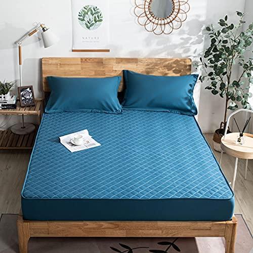 HAIBA Protector de colchón transpirable de microfibra con memoria de forma, muy suave, con bolsillo profundo, adecuado para alérgicos, azul claro, 120 x 200 cm + 30 cm