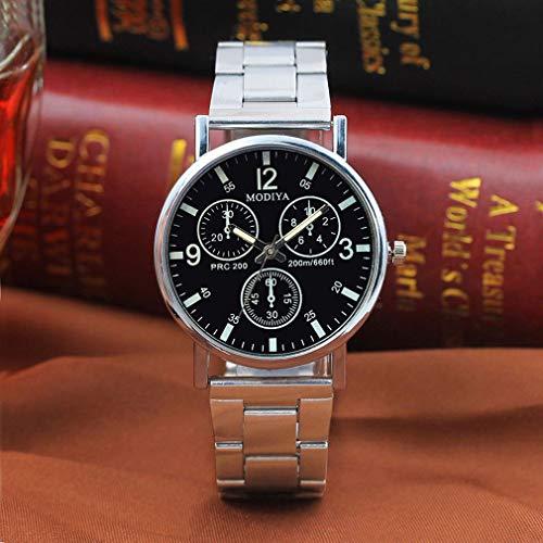 Reloj de Cuarzo analógico de Lujo Informal de Moda con cinturón de Acero de Tres Ojos para Hombre (Negro)