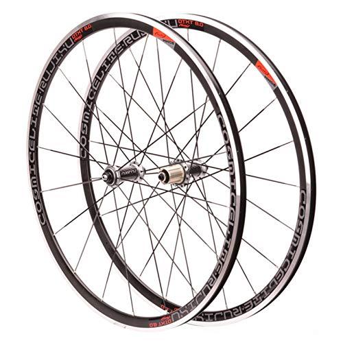 ZNND 700C Bicicleta de Carretera Ruedas,Llanta de Aleación Aluminio 30mm Freno V/C Delantero 2 Trasero 4 Rodamientos Buje de Tubo Fibra de Carbono (Size : Gold)