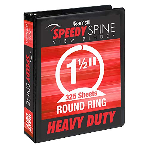 Samsill Speedy Spine Time Saving Easy Spine Label Inserting 3 Ring View Binder, 1.5 Inch Round Ring, Customizable Clear View Cover, Black (18150C)
