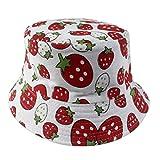 Hillento colorido unisex-bebé niño pequeño pescador cubo sombrero de ala ancha protector de sol sombrero, fresa