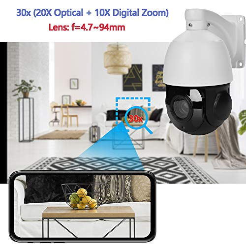 Outdoor 4K PTZ IP POE Security Camera Pan Tilt 30xOptical Zoom Speed Dome 300FT IR Night Vision Motion Detection Remote View Onvif RTSP Support AT-4K30P