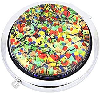 GlassOfVenice Millefiori Espejo compacto plegable de cristal de Murano – Golden Meadow