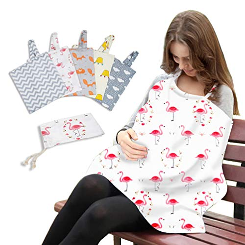 Review HEALLILY Baby Nursing Cover for Breastfeeding, Soft Breastfeeding Towel Cotton with Storage B...