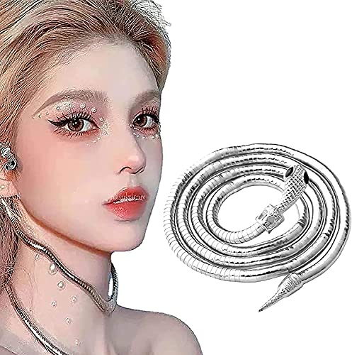 Collar de Serpiente Creative Freedom, Gargantilla de Collar de Serpiente Deslizante Punk, Collar de Serpiente Flexible, Collar Flexible Multiusos Ajustable con Giro de Serpiente (Plata)