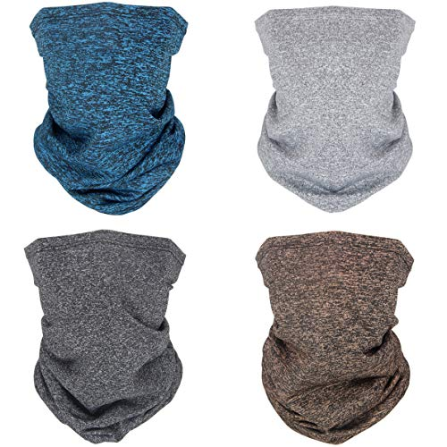 Bandana Face Mask Dust Mouth Cover Outdoor UV Resistence Neck Gaiter Scarf for Sports,Festivals,Yoga,Riding Motorcycling (Lake Blue Light Gray Dark Gray Coffee)