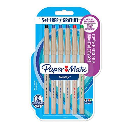 Paper Mate 2027762 - Pack de 10 bolígrafos borrables, punta media, 1 mm, multicolor