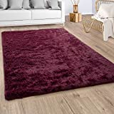 Paco Home Hochflor Teppich Wohnzimmer Fellteppich Kunstfell Shaggy Flauschig Bordeaux Rot, Grösse:160x220 cm