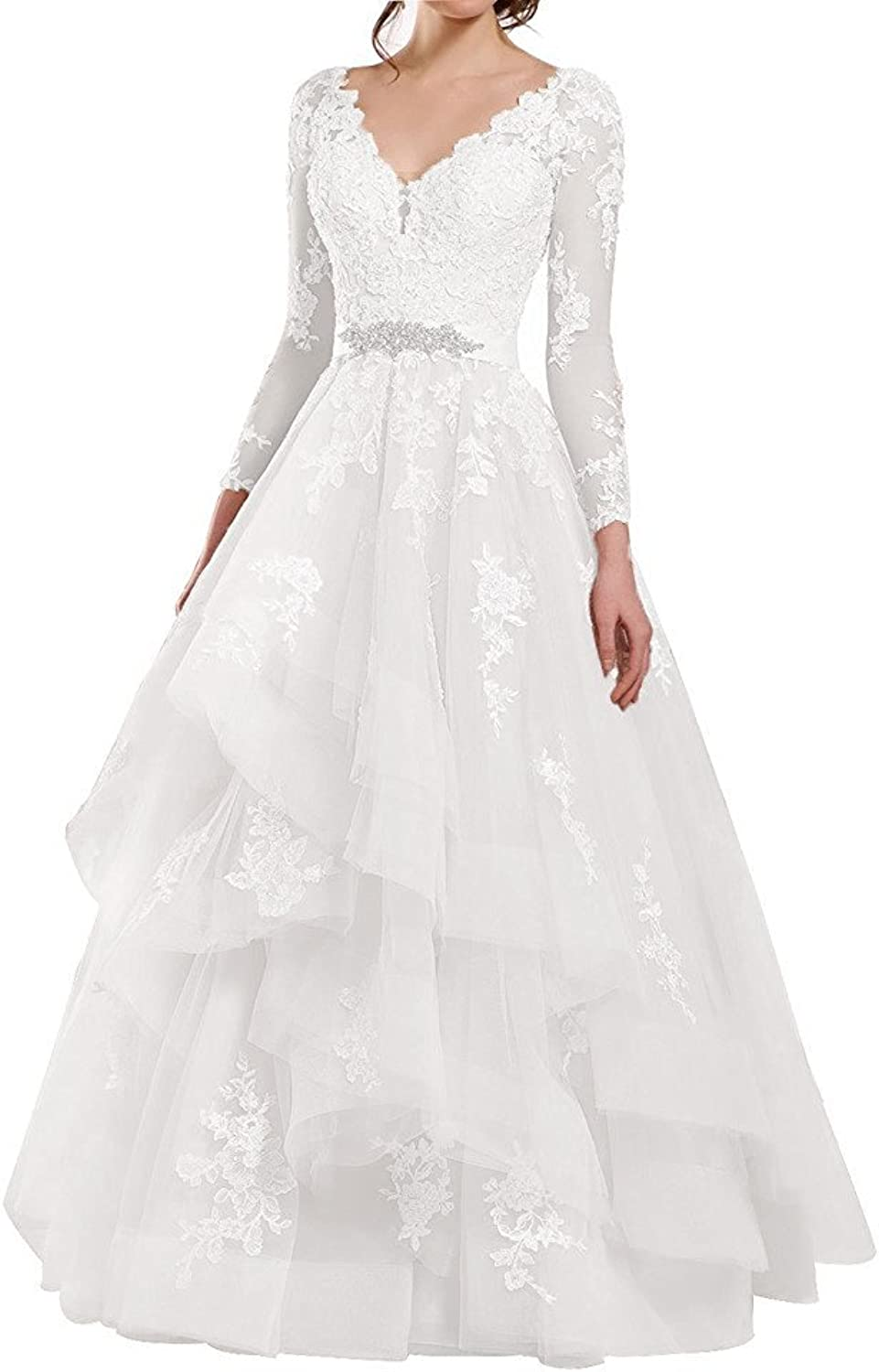 Awishwill See Through Long Sleeve Applique Wedding Dresses Double V Neck Ruffled Organza Bridal Dress For Bride Ivory,20W