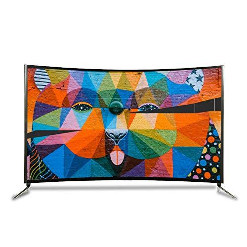 GXFCH SHOP TV 6K Curvado Curvado TV LCD Inteligente, TV TV Curvado de 55 Pulgadas, Marco de Metal, proyección de Pantalla de tabletas
