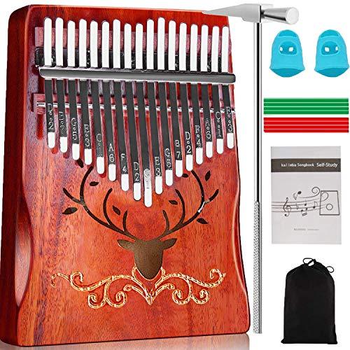 Kalimba Thumb Piano, 17 Keys Thumb Piano(Christmas New Design) with Tune Hammer & Instruction, Portable Musical Instrument Mbira Wood Finger Piano Best Birthday Christmas Gift for Kids Beginner