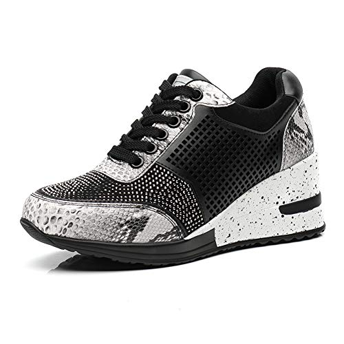 Casual Walking Wedge Sneakers for Women - Ladies Hidden Snakeskin Sneakers Lace Up High Heel Shoes, Best Chioce for Casual and Daily Wear Grey