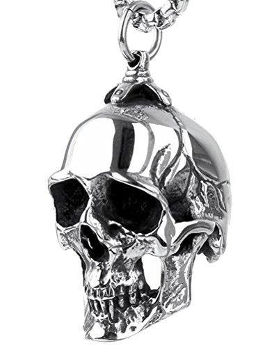 PAURO Hombre De Acero Inoxidable Gótico Motorista Cráneo Colgante Collar Punk Rock Plata Negro Vintage Pequeño