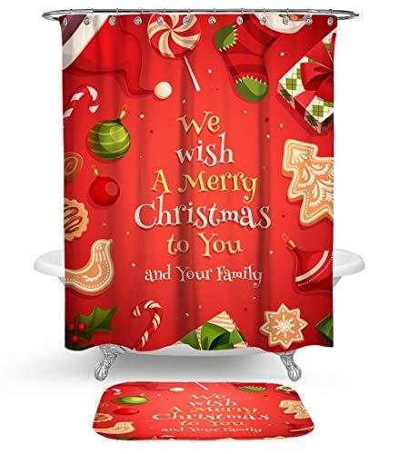 KISY Weihnachtsmann Duschvorhang, Bad-Set, Kunstgem?lde, Weihnachtsbaum, Bl?tter, schimmelresistent, Duschvorhang mit weicher Baumwolle, 2 St¨¹ck, maschinenwaschbar, Retrogr¨¹n, Textil,Large