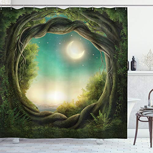 """Ambesonne Trees Shower Curtain, Trees in Enchanted Forest Full Moon Artwork Girls Boys and Family, Cloth Fabric Bathroom Decor Set with Hooks, 70"""" Long, Teal Cream"""
