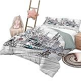 Bettlaken Set Sketchy Tagesdecken in voller Größe Bettdecke Amsterdam Stadtbild