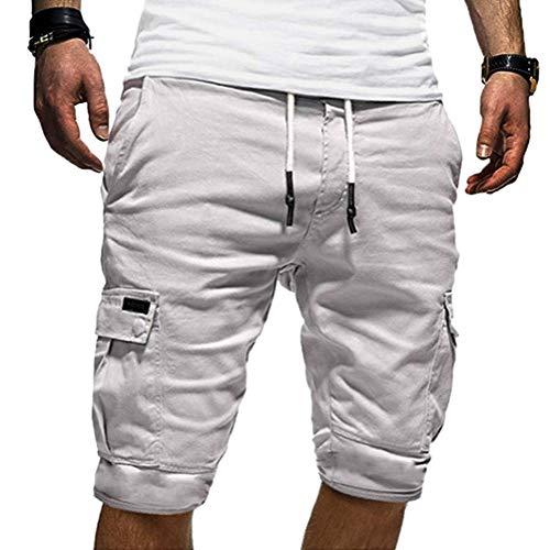 Onsoyours Herren Sweat Shorts Kurze Hose Jeans Bermuda Denim Sweatpants Cargo Jogging Jeans Vintage Cargohose Used Look Weiß Large