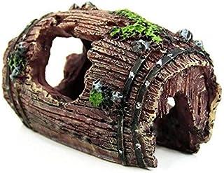 SKEIDO Aquarium Barrel 3D Resin Broken Barrel Aquarium Decorations for Fish Tank Aquarium Ornament Aquatic Caves Hide Shel...