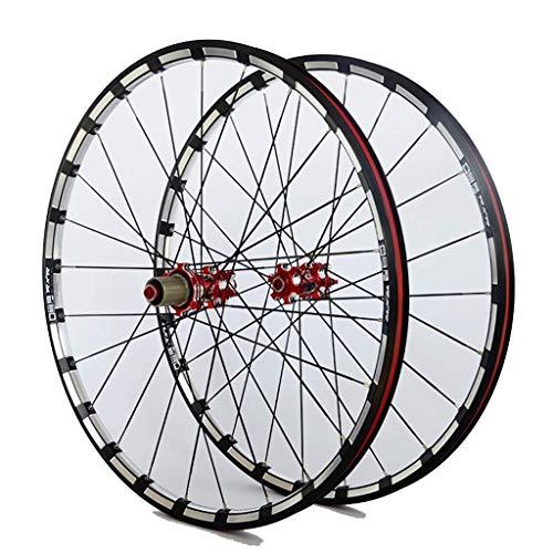 TYXTYX Rueda de Bicicleta MTB para 26 27,5 29 Pulgadas Juego de Ruedas Delanteras traseras de Bicicleta Llanta de aleación de Doble Capa 7 Freno de Disco con rodamiento Palin QR 7-11 Velocidad 24H