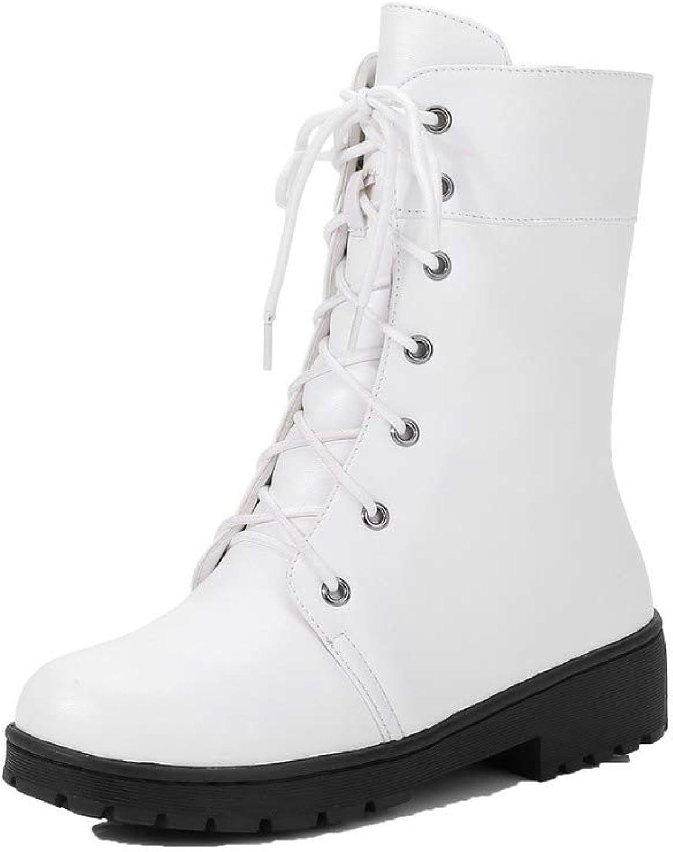 AmoonyFashion Women's Low-Heels Pu Low-Top Solid Zipper Boots, BUTXT022235