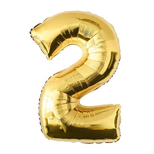 Globo de lámina 2 dorado Número enorme 100 cm rellenable con helio o aero fiesta de cumpleaños