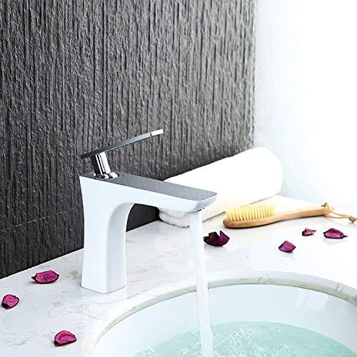 Grifo Faucet; Grifo; Bibcock HOGAR Subcontrolado Faucet All Cobre y Pintura Blanca Un Solo Agujero sobre el mostrador Faucet Faucet Sola manija Caliente y frío Cuarto de Lavado de baño