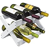 Sorbus Rustic Foldable Countertop Wine Rack 6-Bottles, Torched Wood (White)