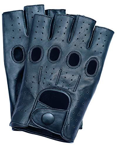 Riparo Herren Fingerless Half Finger Fahren Fitness Motorrad Radfahren Ungefütterte Lederhandschuhe (M, Schwarz)