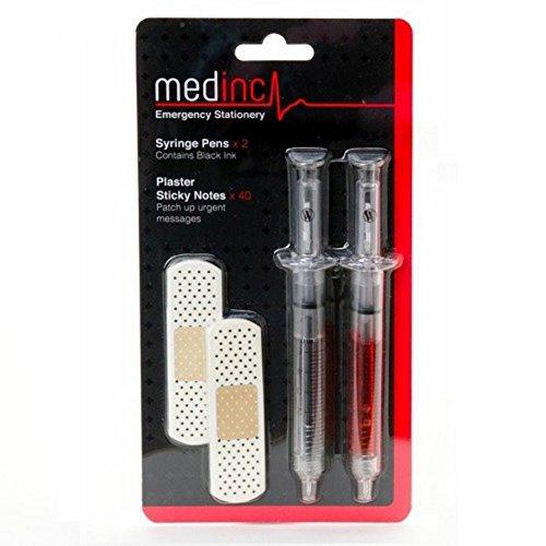 Medinc Medizinische Blisterpackung Enthält 2 X Spritze Stift Und 40 X Pflaster Haftnotizen Große Krankenschwester Neuheit Stift Stationär Satz Arzt