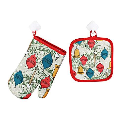 YUnnuopromi Lot de 2 Gants de Four pour Micro-Ondes Motif Père Noël