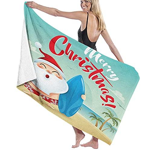 Toallas de baño,Feliz Navidad Papá Noel en la Playa HolidaychristmasManta de Toalla Grande,súper Suave,Altamente Absorbente para baño,Playa o Piscina,52 'x 32'