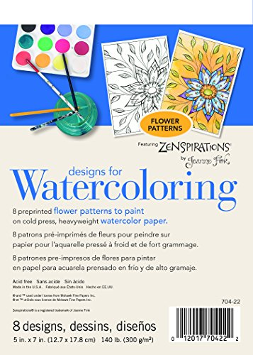 Strathmore (704-22-1 Designs for Watercoloring 140 lb. Cold Press Pad, Flower, 8 Sheets