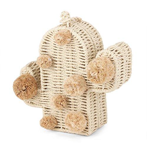 Strandtasche Kaktus Strohtasche Sommertaschen mit Bommel Frauen Messenger Handtasche Geflochtene neue Rattan-Tasche, Beige, 19,1 x 19,1 x 6,1 cm